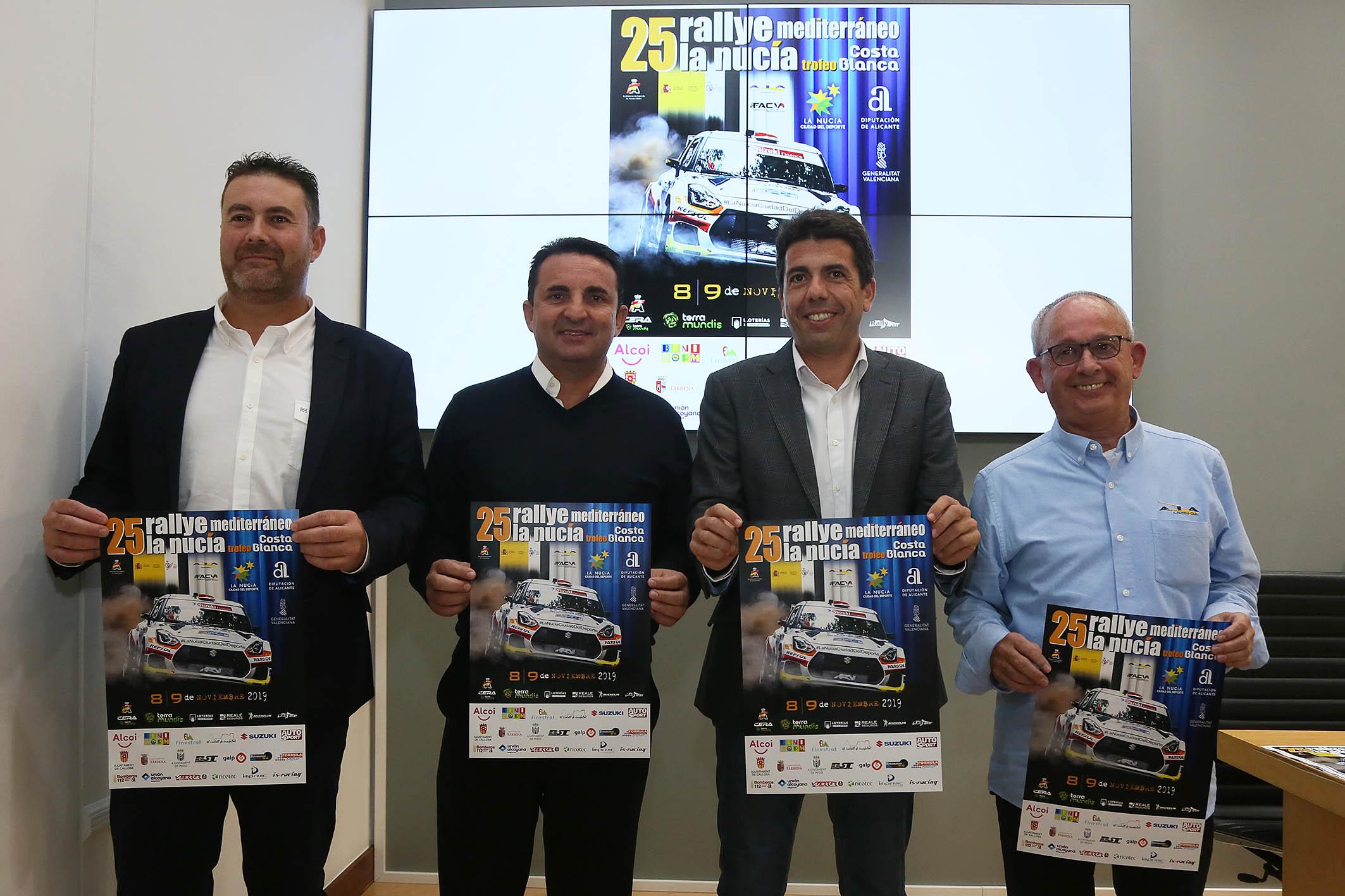 El XXV Rallye La Nucía-Mediterráneo reunirá el 8 y 9 de noviembre en la provincia a los mejores pilotos del panorama nacional